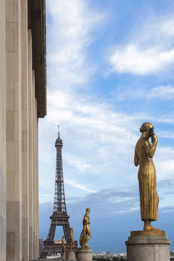 Eiffel tower, perspective seen from Trocadero with sculpture. city of architecture stock photos