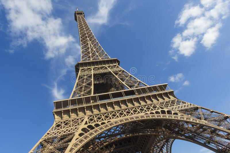 The Eiffel Tower, a wrought-iron lattice tower on the Champ de Mars in Paris, France. The Eiffel Tower, photographed on an angle, is a wrought-iron lattice tower stock images