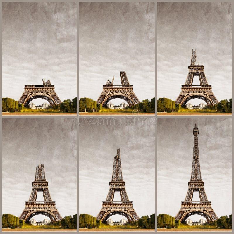 Eiffel Tower progressive construction. Eiffel Tower at progressive construction stock images