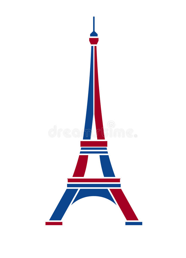 Download Eiffel Tower Logo In Red And Blue Paris Stock Vector