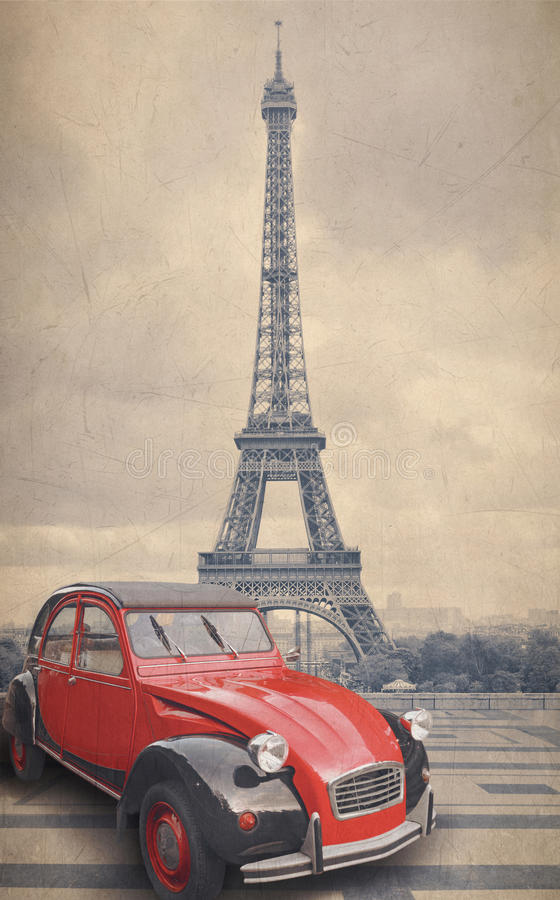 Eiffel Tower and red car with retro vintage style filter effect vector illustration