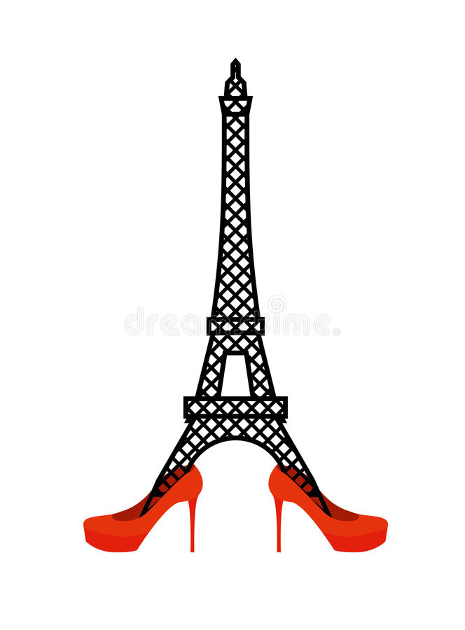 Eiffel Tower in red women's shoes. vector illustration