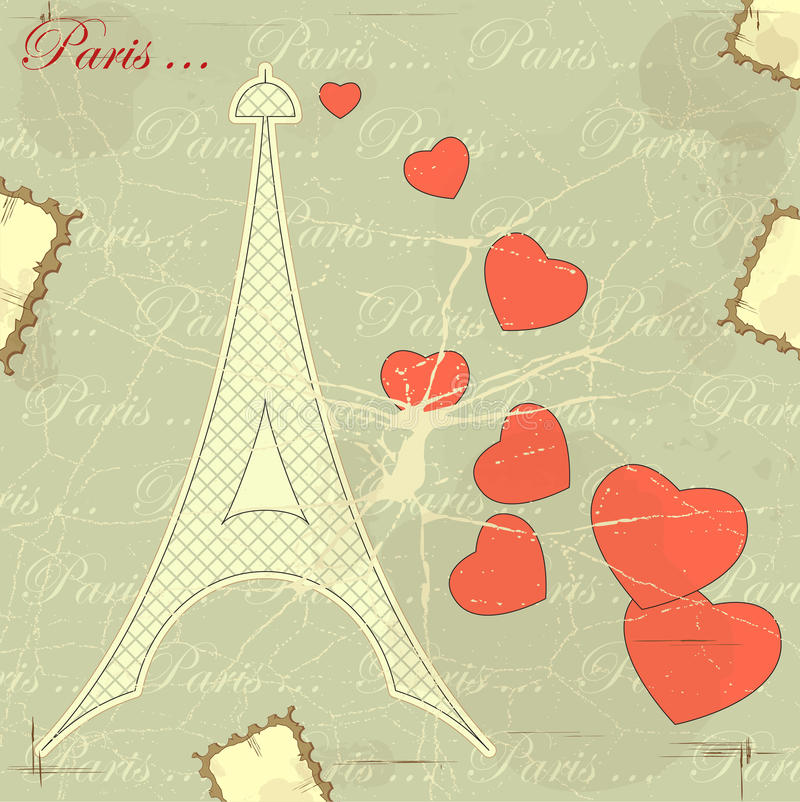 Eiffel tower on retro background. With hearts and word Paris royalty free illustration