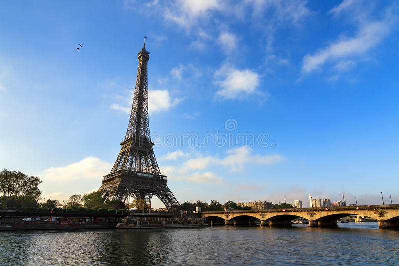 Eiffel tower at the river Seine royalty free stock photos