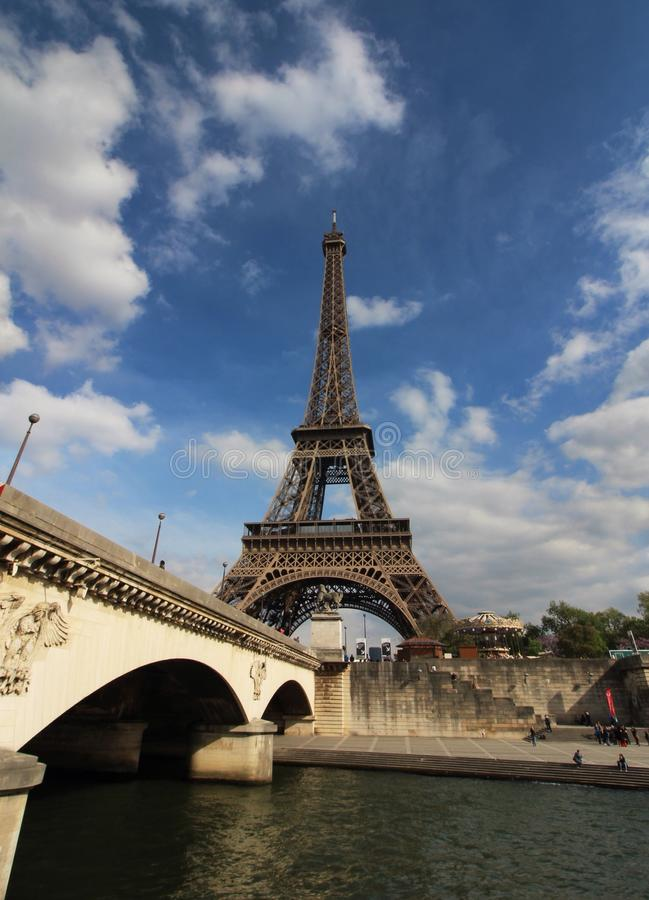 Eiffel Tower from river side stock image