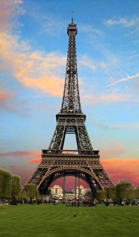 Eiffel Tower with romantic sky, Tower in Paris, France stock photo
