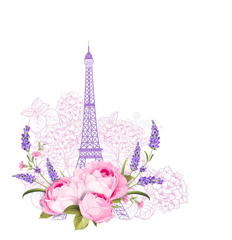 Eiffel tower with rose flowers isolated over white background. The vacation elegant card. Eiffel tower symbol with. Eiffel tower with rose flowers and roses stock illustration