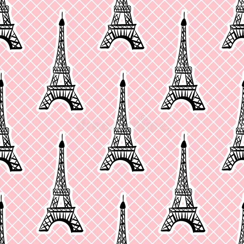 Eiffel tower seamless pattern in white pink grid background. Vector Girlish surface design. royalty free illustration