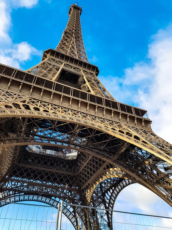 Eiffel tower seen from below. Paris icon. royalty free stock image