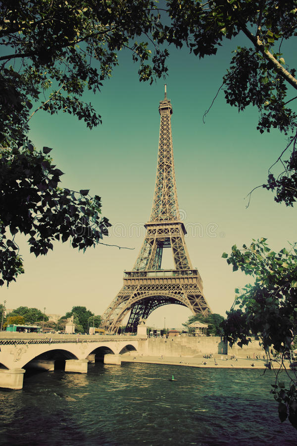 Eiffel Tower And Seine River In Paris, France. Vintage Royalty Free Stock Image