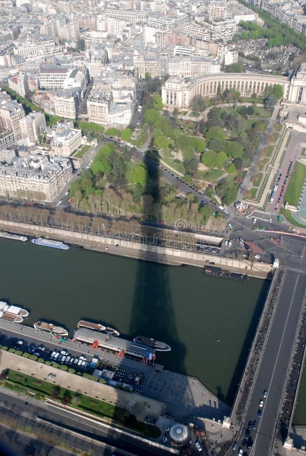 Eiffel Tower Shadow over Sein River stock photo