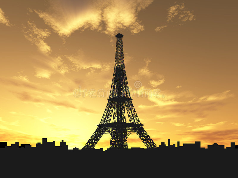 Eiffel tower silhouette royalty free illustration