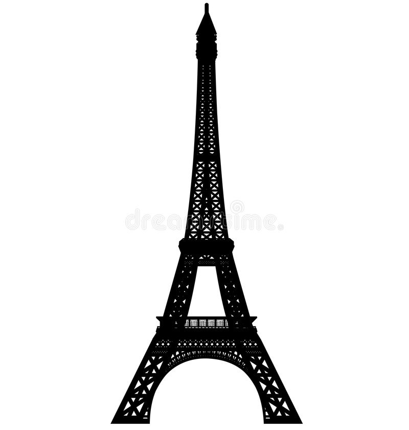 Eiffel tower silhouette vector. Vectored illustration of paris eiffel tower with high details level, isolated