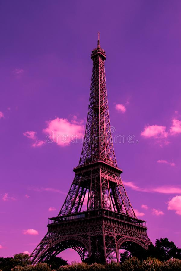 Free Eiffel Tower Silhouetted Against An Ultra-violet Sky Royalty Free Stock Photos - 113227498