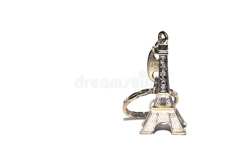 Eiffel tower souvenir keychain isolated on white. stock photo