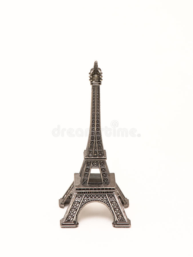 Eiffel Tower souvenir. A small, metalic souvenir of the Eiffel Tower in Paris stock photo