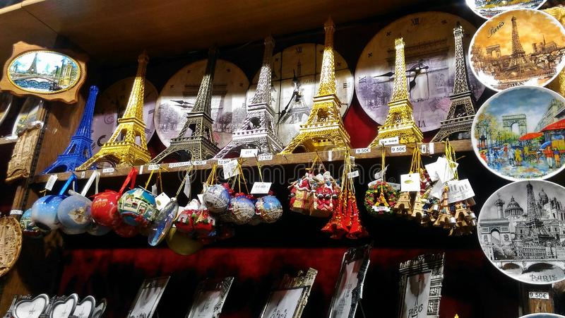 Eiffel Tower Souvenirs of different styles. Take a look at the Eiffel Tower Souvenirs of different styles royalty free stock photo