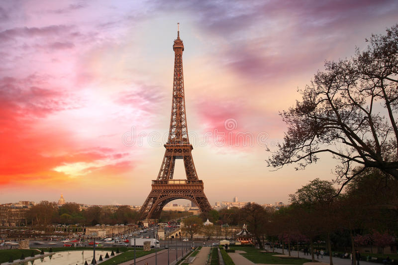 Eiffel Tower in spring morning, Paris, France stock photo
