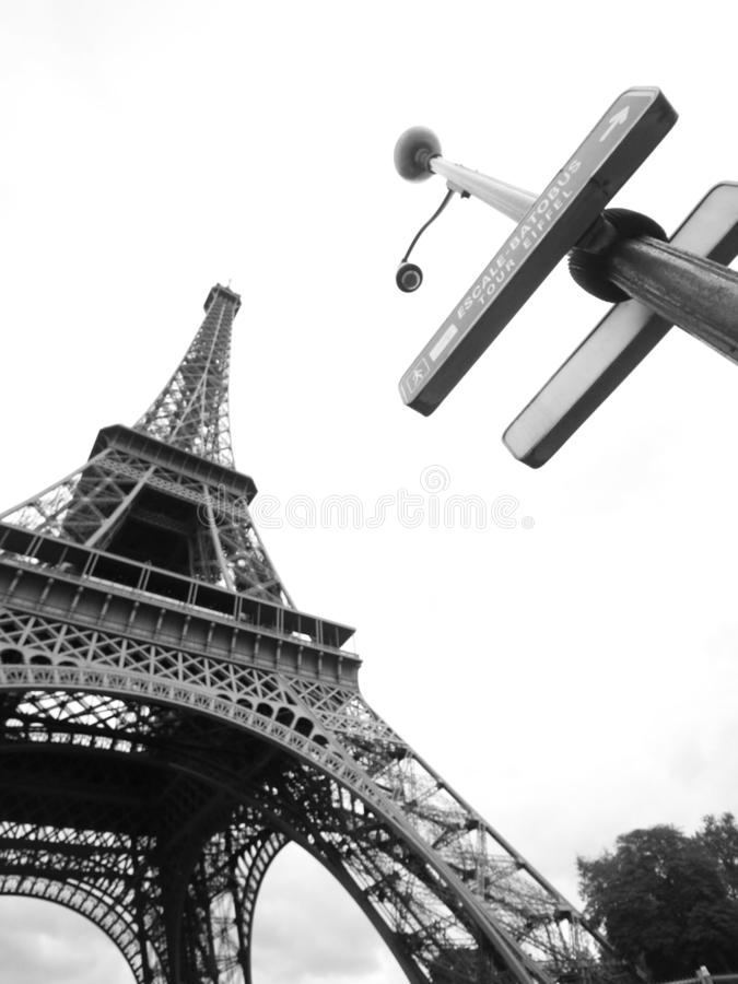 Eiffel tower with street sign, Paris, France royalty free stock image