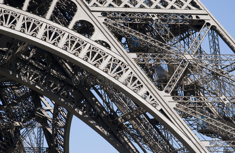 Eiffel Tower Structure. Detail of The Eiffel Tower Pilier Est showing the metal structure of the monument designed by the French engineer Gustave Eiffel for the stock images