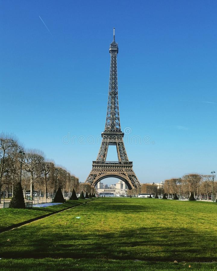 Eiffel Tower. In a sunny day royalty free stock photo