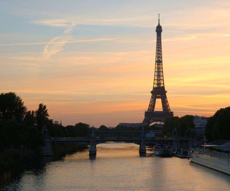 Eiffel tower sunrise, paris stock photos