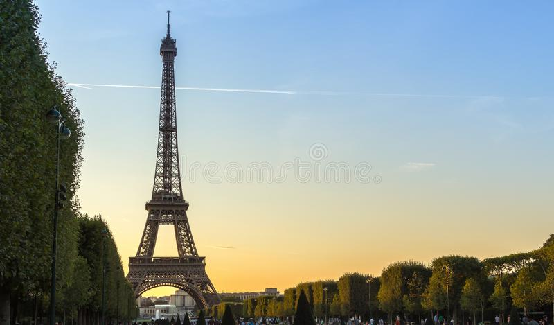 Eiffel Tower at sunset from the Champs de Mars royalty free stock photo