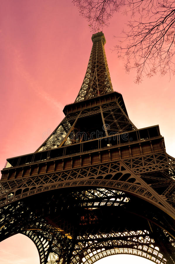 Eiffel Tower in sunshine sky stock photo