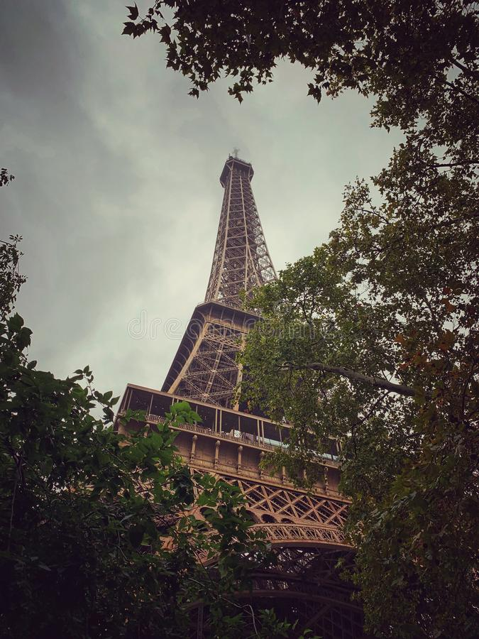 Eiffel Tower surrounded by trees on a cloudy day. royalty free stock photography