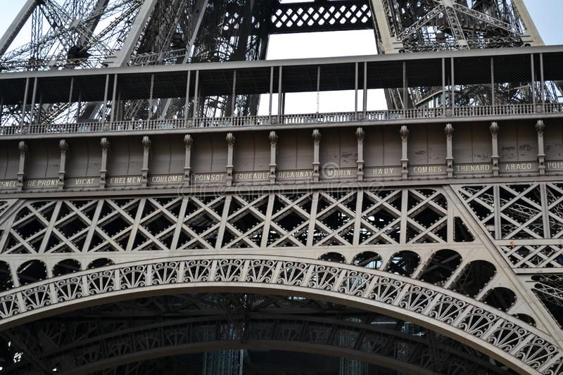 Eiffel tower, steel details of constrution, Paris, France royalty free stock photography