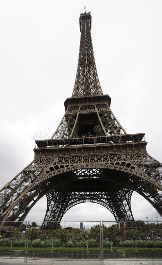Eiffel Tower or Tour Eiffel is a wrought iron lattice tower on the Champ de Mars in Paris, France royalty free stock photo