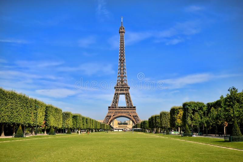 Eiffel Tower with vibrant blue sky royalty free stock images