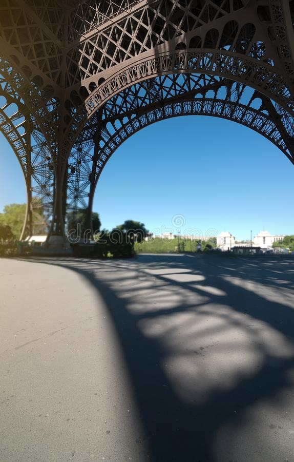 Eiffel tower view inside royalty free stock photography