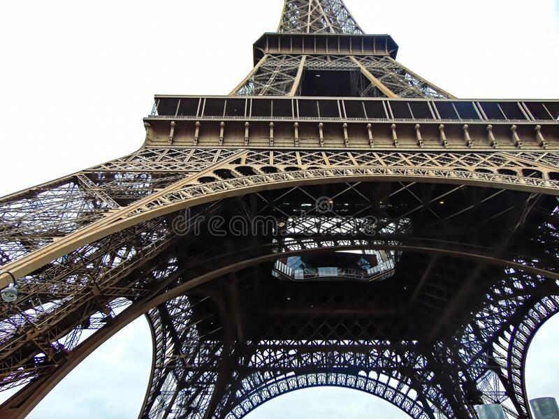 Eiffel tower view from the inside stock images
