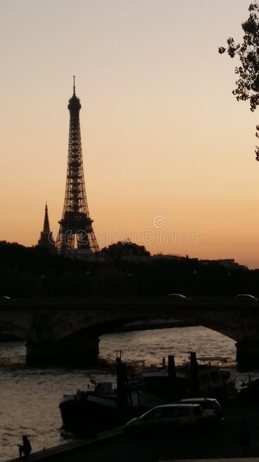 Eiffel Tower view from Siena Rive, Magical Sunset, shining bright like a diamond stock photo