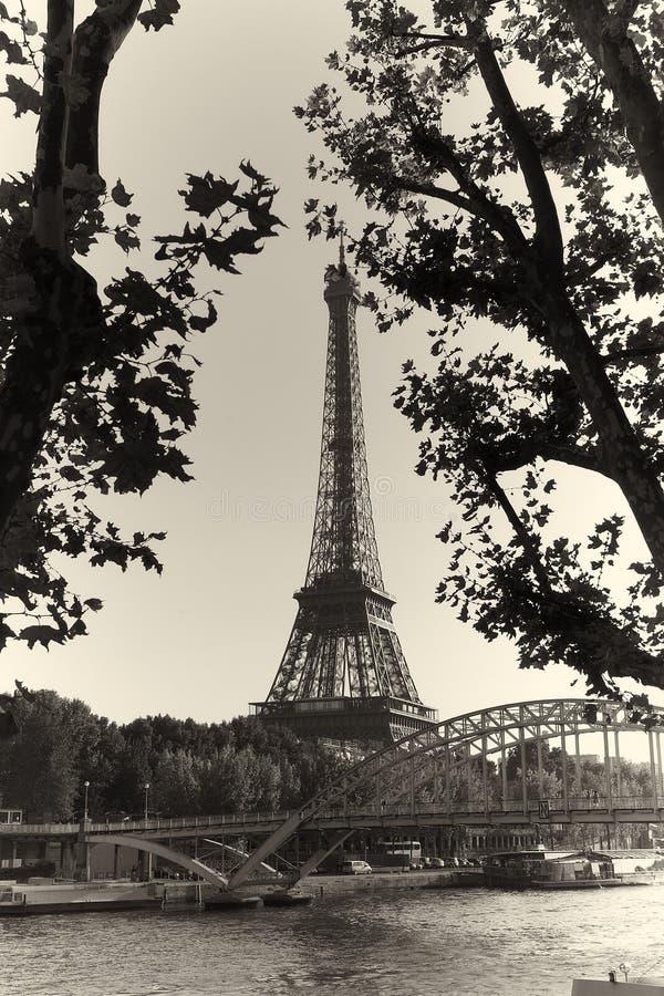 Eiffel Tower. Vintage black white royalty free stock image