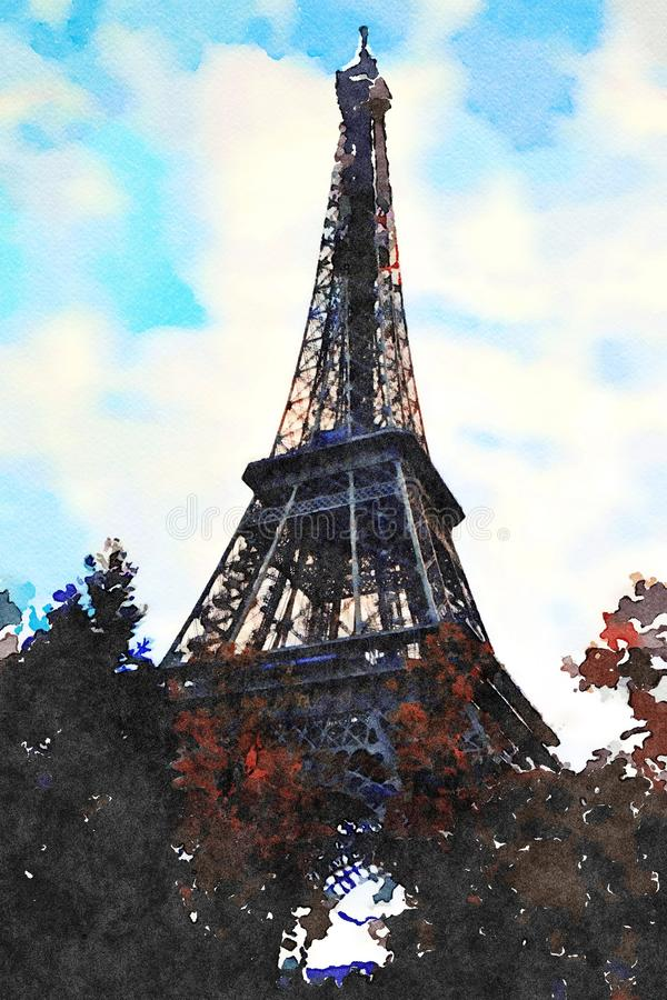 Eiffel tower watercolor during the day. In Paris vector illustration