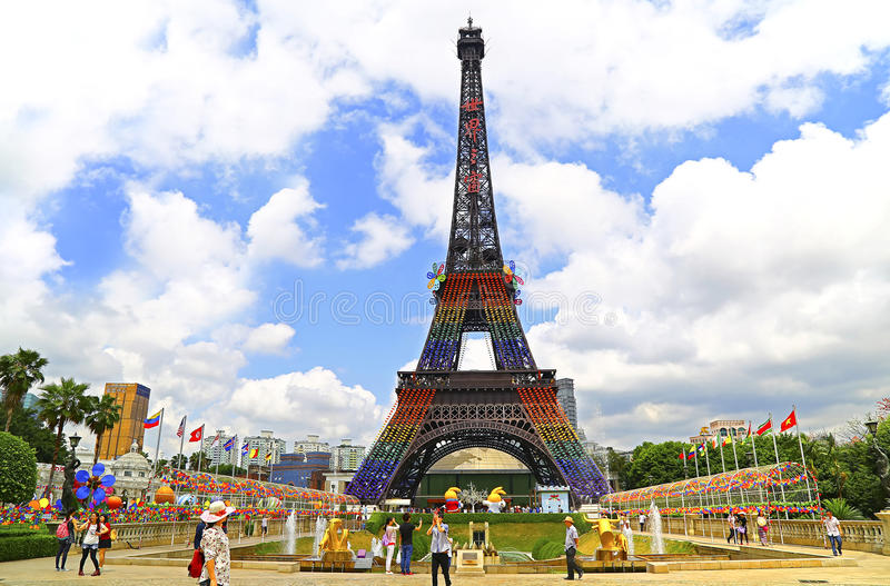 Eiffel tower at window of the world, shenzhen, china. Reproduction of one of the most famous tourist attraction, the 108 meter tall eiffel tower at the window of stock image