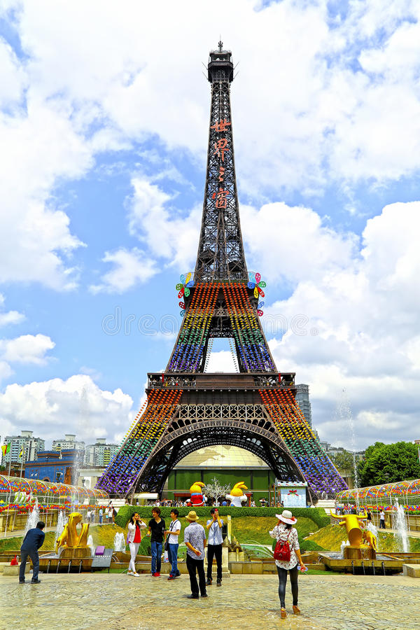 Eiffel tower at window of the world, shenzhen, china royalty free stock images