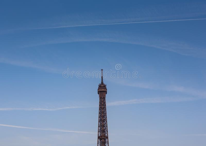 Eiffel Tower, a wrought-iron lattice tower on the Champ de Mars in Paris, France. Photographed from the Trocodero of the  second level and above at the golden royalty free stock photography