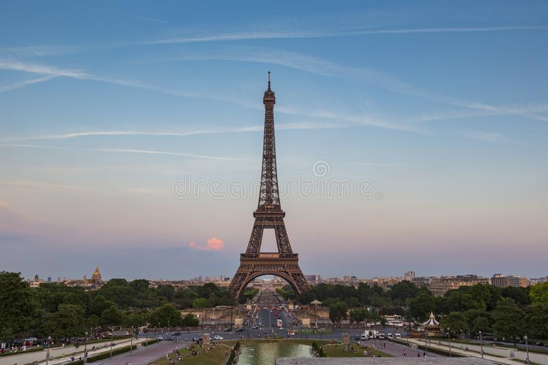 Eiffel Tower, a wrought-iron lattice tower on the Champ de Mars in Paris, France. Photographed from the Trocadero at the golden hour royalty free stock photo
