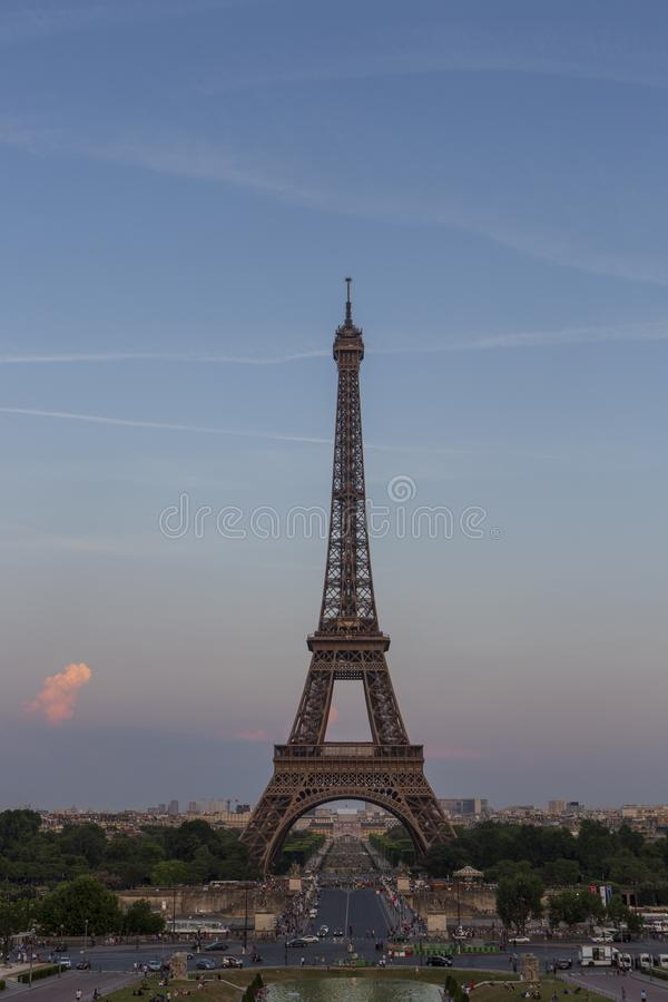 Eiffel Tower, a wrought-iron lattice tower on the Champ de Mars in Paris, France. Photographed from the Trocadero at the golden hour stock photo
