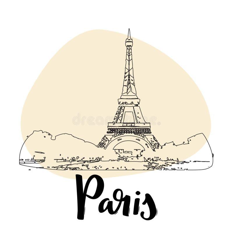 eiffel wierza France Paris Wektorowa prosta nakreślenie stylu ilustracja ilustracja wektor