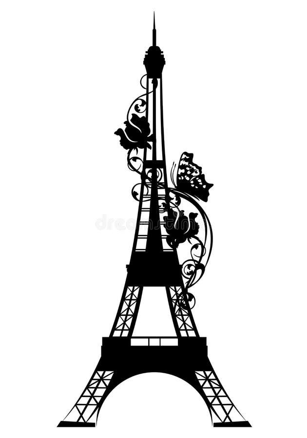 Eiffeltorn bland svart vektorkontur för rosor stock illustrationer