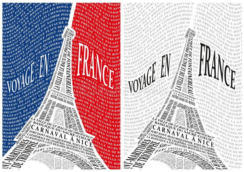 Eiffeltorn från namnen av dragningarna av royaltyfri illustrationer
