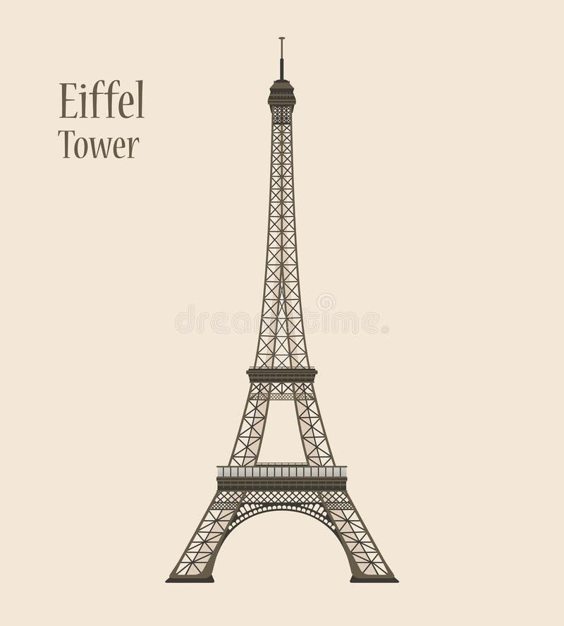 Eiffeltorn i Paris - konturvektorillustration stock illustrationer