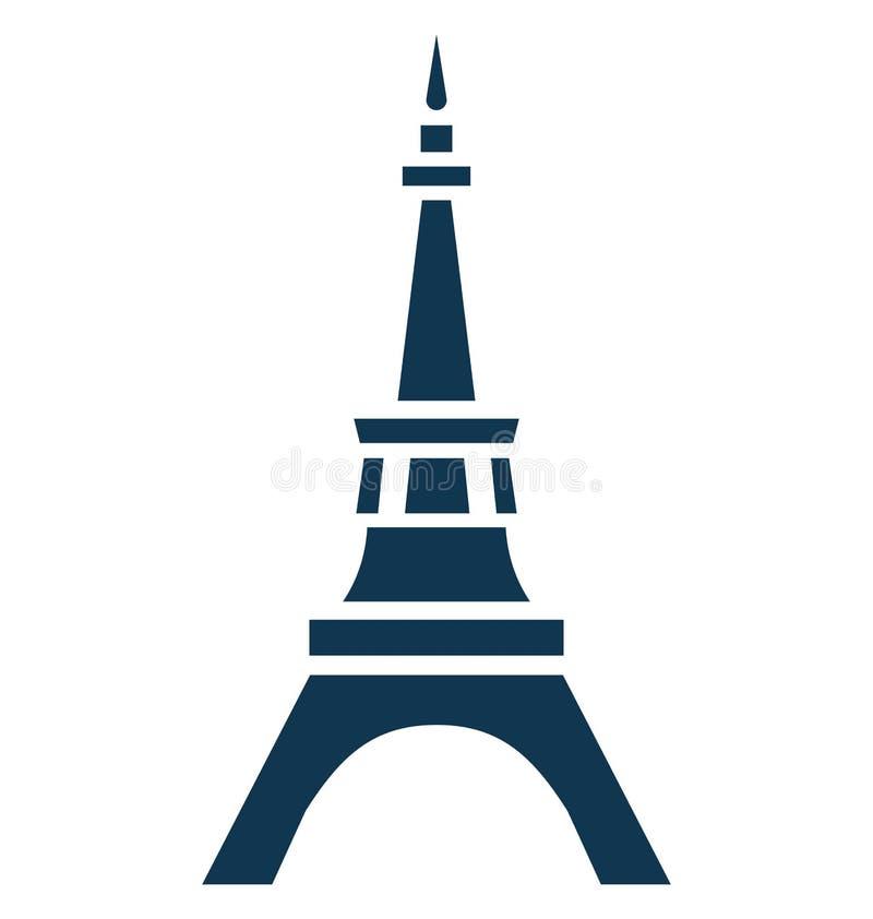Eiffeltorn isolerat vektorsymbolsbruk för lopp och turnerar projekt royaltyfri illustrationer