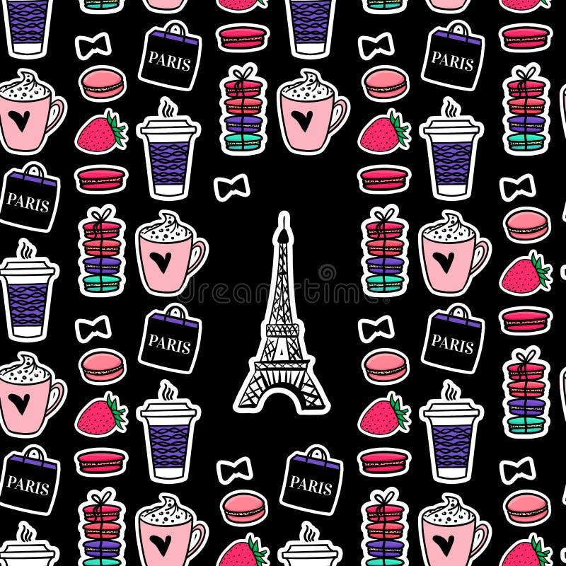 Eiffeltorn med kaffe och makron Paris stil Yttersidadesign Vektorn skissar illustrationklistermärkear på svart bakgrund stock illustrationer