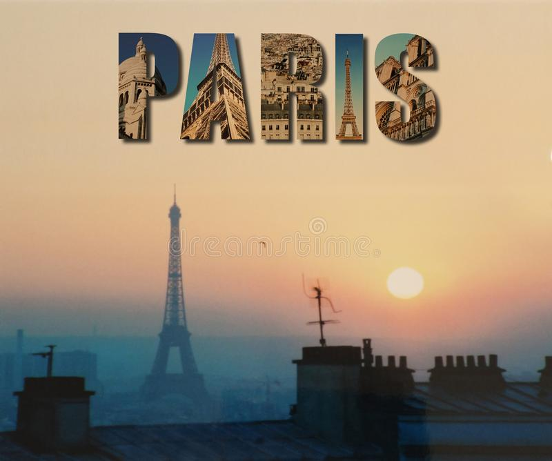 Eiffeltorn- och Paris collagesolnedgång arkivbilder