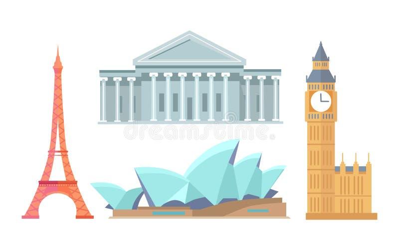 Eiffeltorn och Sydney Opera Vector Illustration vektor illustrationer